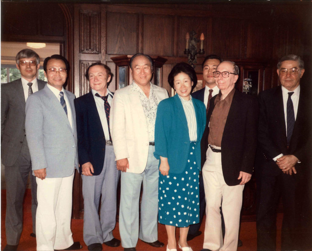 Text Box: Figure 3: PWPA Leaders in 1986. (Left to Right) Gordon L. Anderson, Pd. D., Secretary General, Chung Hwan Kwak, Chairman, Professor Nicholas N. Kittrie, PWPA-USA President, Rev. Moon, Mrs. Moon, Douglas D.M. Joo. Chairman of the Washington Times, Professor Morton A. Kaplan, University of Chicago, and Richard L. Rubenstein, Florida State University